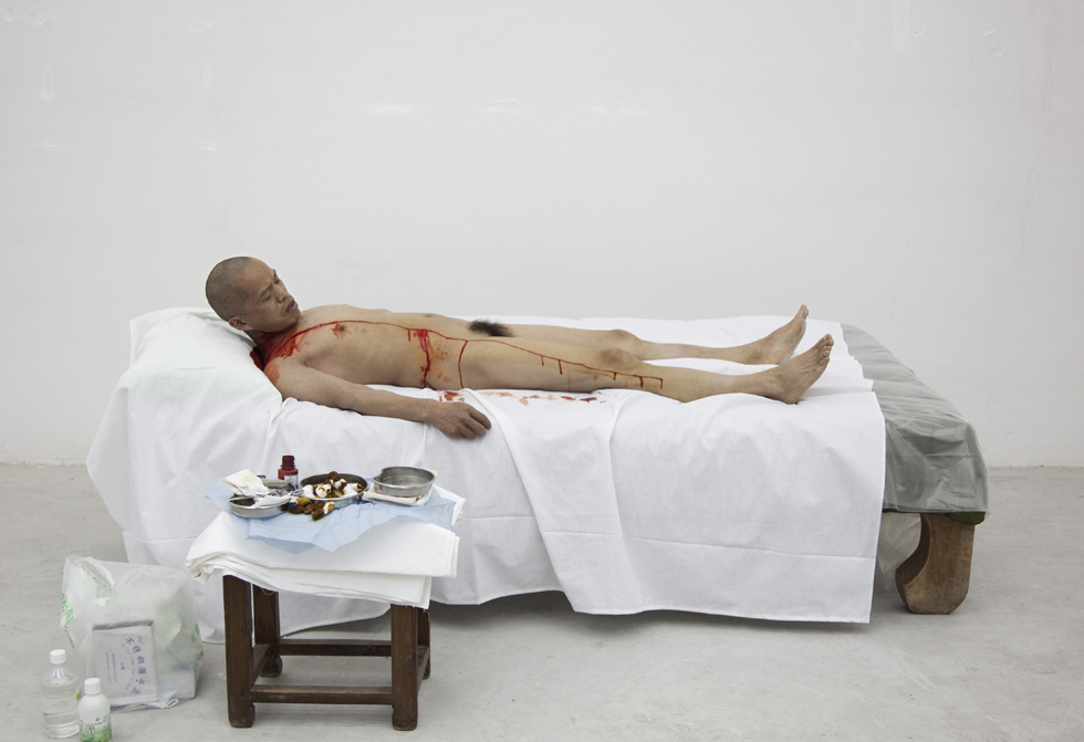 In 2010, for 'One Metre of Democracy', 25 people were asked to vote in a secret ballot for whether performance artist He Yunchang should have a metre-long cut made down his left side, from just below his clavicle to his knee. By a margin of 12 to 10 (with three abstentions), the voters chose for Yunchang to undergo the cut, which he did.
