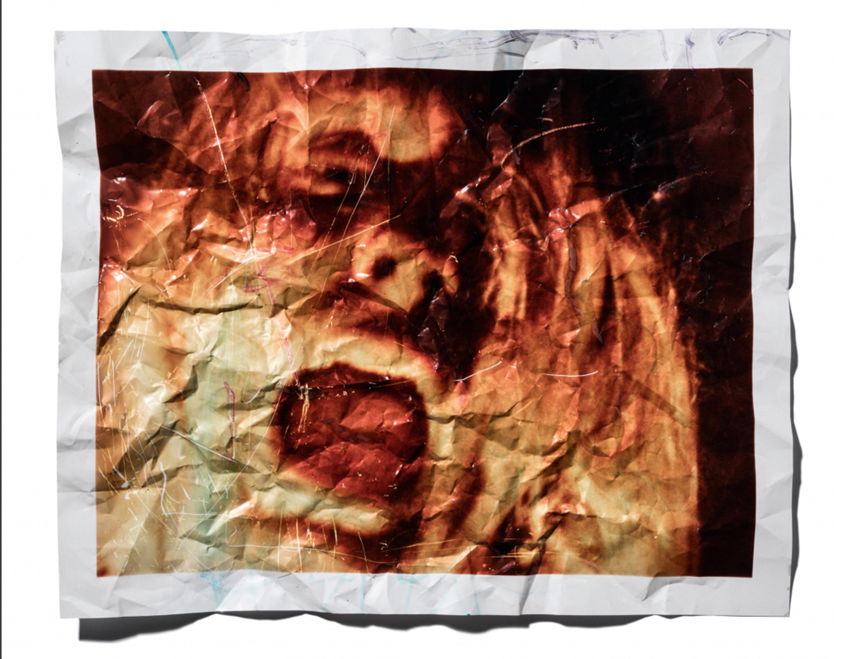 Damaged video print of Kurt Cobain,