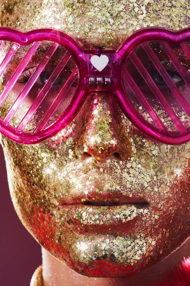 Red heart coat / Saint Laurent // Glasses / stylist's own // Make up / Lemonhead LA SpacePaste (custom colour)