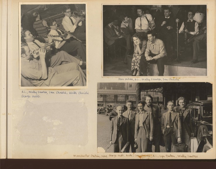 Left // Humphrey Lyttelton, Wally Fawkes, Ian Christie, Keith Christie and George Webb at 100 Oxford Street (1949) Right // Stan Wilcox, Humphrey Lyttelton, Wally Fawkes and Ian Christie at 100 Oxford Street (1949)