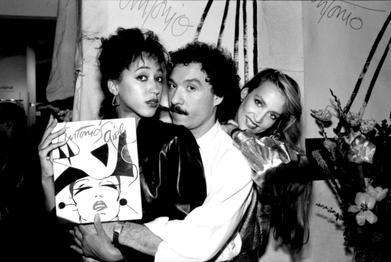 Pat Cleveland, Antonio Lopez and Jerry Hall, Book Launch Party for Antonio's Girls, Fiorucci, New York, 1982. CREDIT: Photograph by Juan Ramos. © Copyright The Estate of Antonio Lopez and Juan Ramos, 2012. From Antonio Lopez 1970: Sex Fashion & Disco directed by James Crump. Used by permission.
