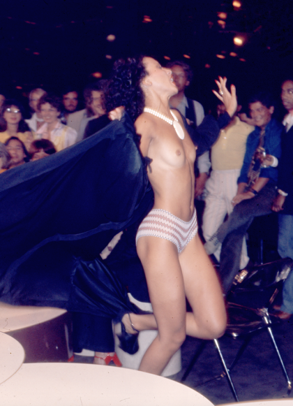 Pat Clevelend, Studio 54 Fashion Show, circa 1978 CREDIT: © Copyright The Estate of Antonio Lopez and Juan Ramos, 2012. From Antonio Lopez 1970: Sex Fashion & Disco directed by James Crump. Used by permission.