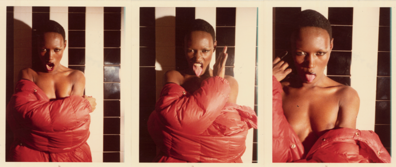 Grace Jones (from Black and White Shower series), Paris, 1975. CREDIT: Photograph by Antonio Lopez. © Copyright The Estate of Antonio Lopez and Juan Ramos, 2012. From Antonio Lopez 1970: Sex Fashion & Disco directed by James Crump. Used by permission.