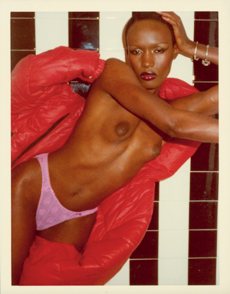 Grace Jones (from Black and White Shower series), Paris, 1975. CREDIT: Photograph by Antonio Lopez. © Copyright The Estate of Antonio Lopez and Juan Ramos, 2012. From Antonio Lopez 1970: Sex Fashion & Disco directed by James Crump.
