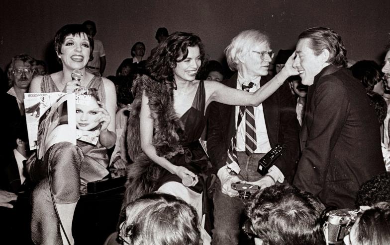 Liza Minelli, Bianca Jagger, Andy Warhol, and Halston at Studio 54. Photographer: Adam Schull.