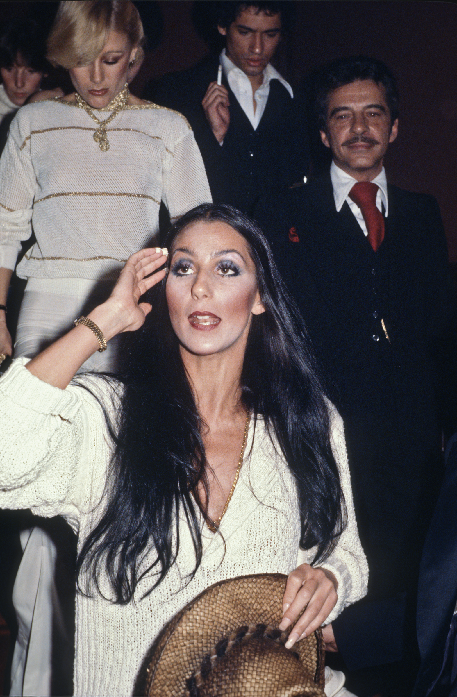 Cher on the stairs by Allan Tannebaum