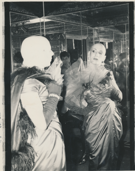 A transsexual man looks at himself in the mirror. Photographer: Miestorm